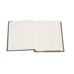 Adress Book small, protected tabs, cream white sheets board, book linen cover, 96p., lime