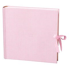 Album Xlarge linen cover,130 pages,cream mounting board, glassine paper, Vichy pink