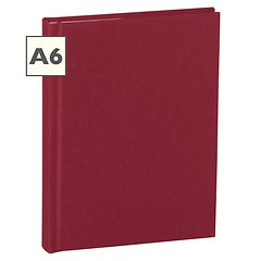 Notebook Classic (A6) book linen cover, 144 pages, plain, burgundy