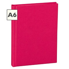 Notebook Classic (A6) book linen cover, 144 pages, plain, pink