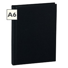 Notebook Classic (A6) book linen cover, 144 pages, plain, black