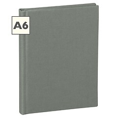Notebook Classic (A6) book linen cover, 144 pages, plain, grey