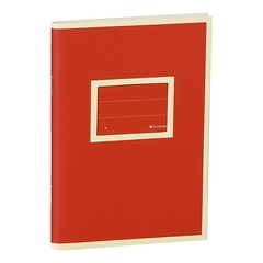 Exercise Book (A6) with a tag to personalize the book, ruled, red