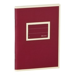 Exercise Book (A6) with a tag to personalize the book, ruled, burgundy