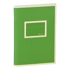 Exercise Book (A6) with a tag to personalize the book, ruled, lime
