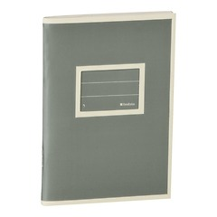 Exercise Book (A6) with a tag to personalize the book, ruled, grey