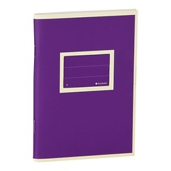 Exercise Book (A6) with a tag to personalize the book, ruled, plum