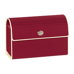 Small Accordion File, 12 expanding pockets, metal turn-lock closure, tab labels, burgundy