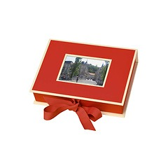 Small Photobox with cut out window, red