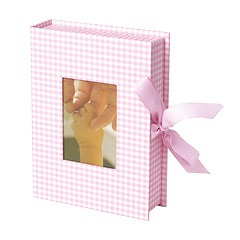 Small Photobox with cut out window, vichy pink
