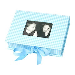 Small Photobox with cut out window, vichy blue