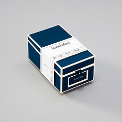 Business Card Box with 3 variable tabs and index cards A-Z, marine