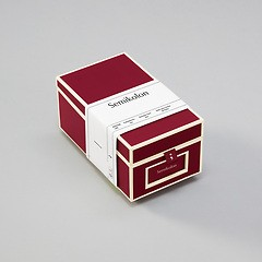 Business Card Box with 3 variable tabs and index cards A-Z, burgundy