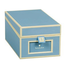 Business Card Box with 3 variable tabs and index cards A-Z, ciel
