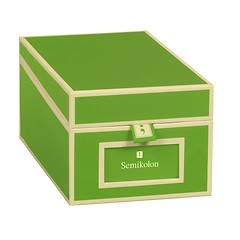 Business Card Box with 3 variable tabs and index cards A-Z, lime