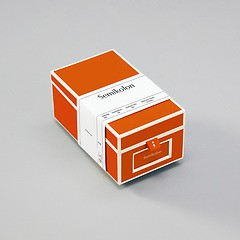 Business Card Box with 3 variable tabs and index cards A-Z, orange