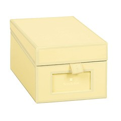 Business Card Box with 3 variable tabs and index cards A-Z, chamois