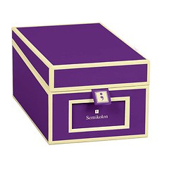 Business Card Box with 3 variable tabs and index cards A-Z, plum