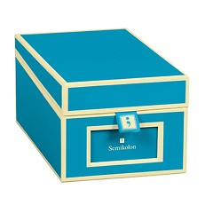 Business Card Box with 3 variable tabs and index cards A-Z, turquoise