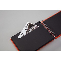 Mini Mucho Album Black, 90 black pages, booklinen cover, red