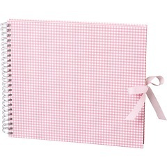 Maxi Mucho Album Cream, 90 cream pages, linen cover, Vichy pink