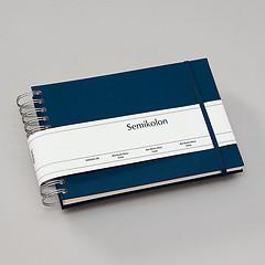 Mini Mucho Album Cream, 90 cream pages, book linen cover, marine