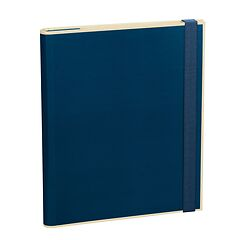 Clip Folder with 3 pockets, metal clip and elastic band (A4) and letter size, marine