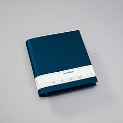 4 Rings Photo Ring Binder, expendable, efalin cover, marine