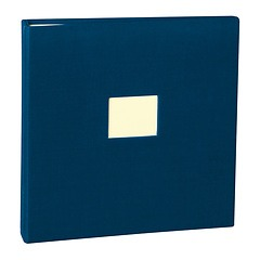 17 Rings Photo Album & Guest Book with book linen cover, marine