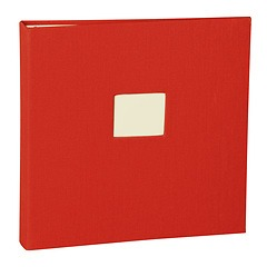 17 Rings Photo Album & Guest Book with book linen cover, red