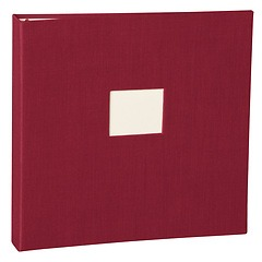 17 Rings Photo Album & Guest Book with book linen cover, burgundy