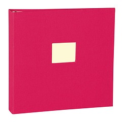 17 Rings Photo Album & Guest Book with book linen cover, pink