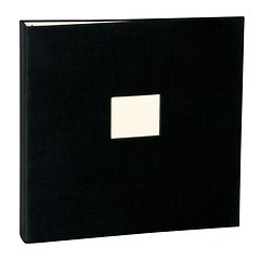 17 Rings Photo Album & Guest Book with book linen cover, black