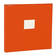17 Rings Photo Album & Guest Book with book linen cover, orange