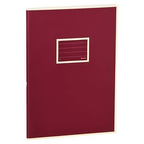 Exercise Book (A4) with a tag to personalize the book, ruled, burgundy
