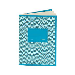 Exercise Book (A6) with a tag to personalize the book, ruled, turquoise