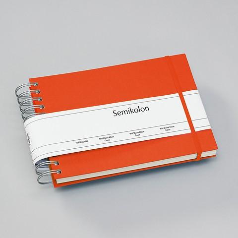 Mini Mucho Album Cream, 90 cream pages, book linen cover, orange